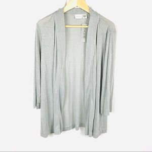 Chico's travelers silver shimmer cardigan sweater